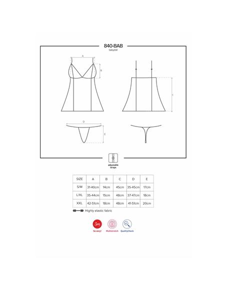 Camisa De Noite E Tanga 840-Bab Obsessive Preta - 36-38 S/M - PR2010352356
