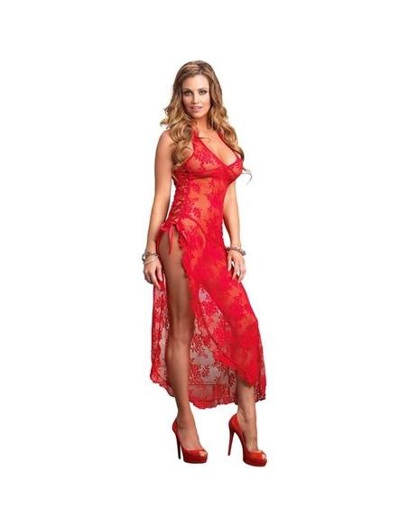 71331 - Camisa De Noite Comprida Com Padrão Floral - Vermelho - Único-PR2010326047