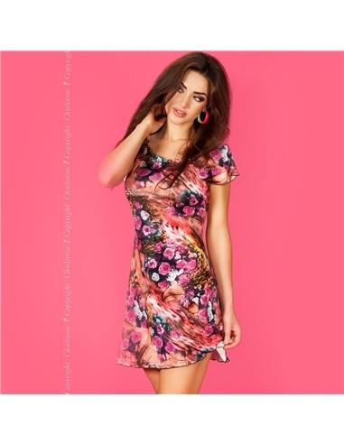 Mini Vestido Cr-3682 Rosa e Coral - 36-38 S/M - PR2010323640