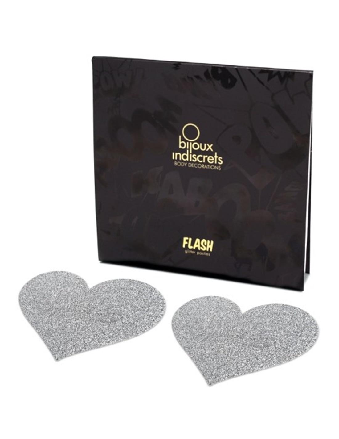 Tapa Mamilos Flash Glitter Heart Bijoux Indiscrets Prateados - PR2010324336