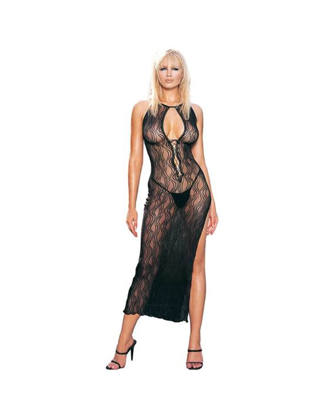 Vestido Longo de Renda com Padrão Ondulado - T. ÚNICO - PR2010304917