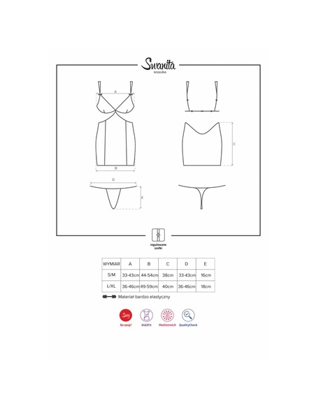 Camisa de Noite e Tanga Swanita Obsessive Preta - 36-38 S/M - PR2010343291
