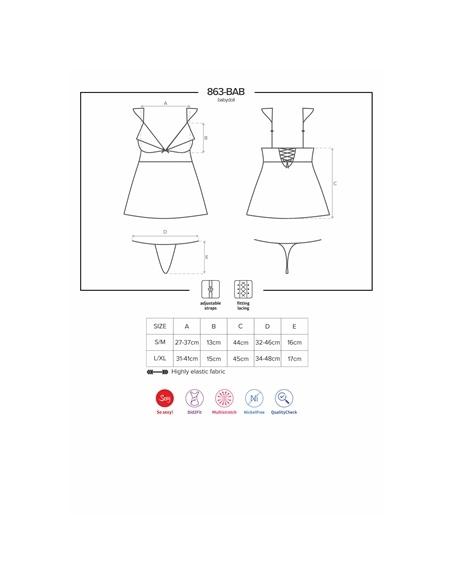 Camisa de Noite e Tanga 863-Bab Obsessive - 36-38 S/M - PR2010352221