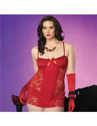 Camisa de Noite com Renda Vermelha Tamanho Grande - 42-44 XL/XXL - PR2010326076